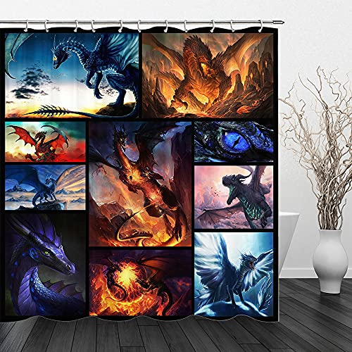 Dragon Shower Curtain, Fantasy Shower Curtain Fire and Ice Dragons Magic Animals Shower Curtains for Bathroom Decor Set 70x70 inches with Hooks