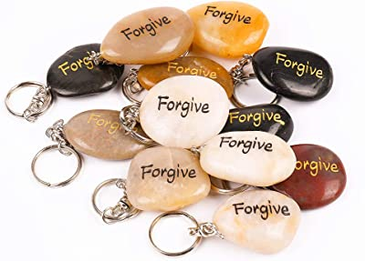 ROCKIMPACT 12PCS Forgive Inspirational Stone Key Chains, Engraved Natural River Rock Key Rings, Pocket Stone Keychain, Bulk Word Stone Wholesale Keyring, (Pack of 12, Forgive)