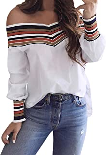 Blouse for Women, Fashion Autumn Casual Multicolor Long Sleeve Off Shoulder Top Shirt
