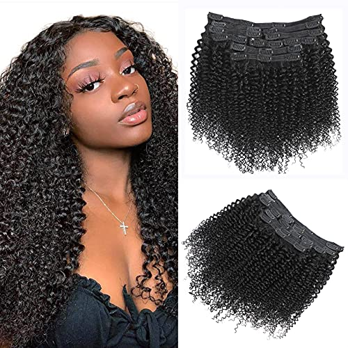 8A Kinkys Curly Clip ins Double Weft Thick Clip in Human Hair Extensions 3C 4A Type Real Remy Hair 12Pcs/Set with 25 Clips Natural Color 120 Gram 20 Inch