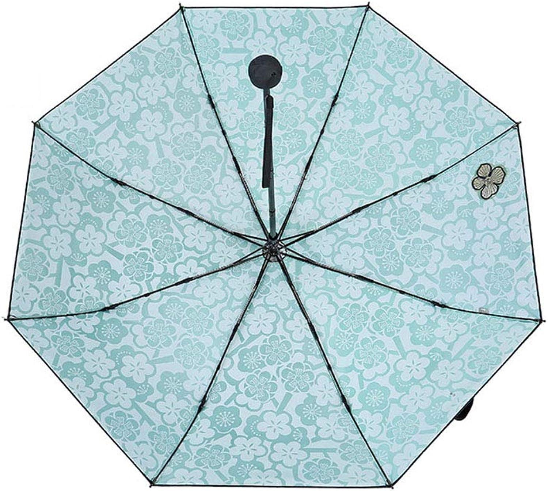Travel Umbrella, UV Predection Windproof Folding Rain Umbrella Manual 8 Bones 3 Folding Umbrella Compact Outdoor Sun Umbrellas,Cyan