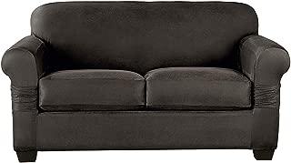 SureFit Stretch Pique Box Cushion Loveseat, Gray