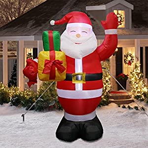 Fishyu Hinchable Navidad Santa Claus Pan de Jengibre Snowman LED ...