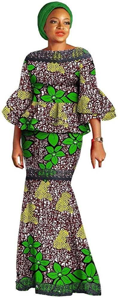 Fashion Women Skirt Suit African Print Flare Sleeves Top Strapless Ankle-Length Skirt Casual Suit with Headwrap