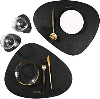 SUBEKYU Leather Placemats and Coasters Set, Washable Round Table Mat, Waterproof Coffee Mats, Heat-Resistant Place Mat for Kitchen Dining Table (Black)