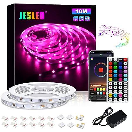 Ruban à LED, JESLED LED Ruban 10M 5050 RGB SMD, Contrôlé par APP, Synchroniser avec Rythme de Musique/Fonction de Minuterie, Télécommande,Convient pour la maison, la cuisine,Pour Chambre, Bar