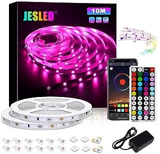 Tiras LED, JESLED 10M Tiras de Luces LED Sincronización de música Bluetooth, control de aplicaciones, Remoto de 44 Botone...
