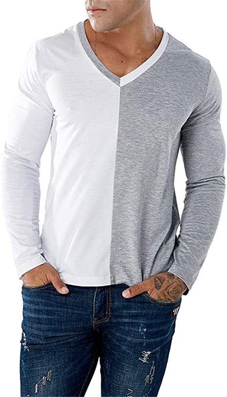 Camiseta de manga larga para hombre Remiendo de dos colores ...
