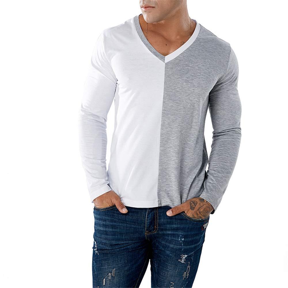 Camiseta de manga larga para hombre Remiendo de dos colores para hombres Pullover Camisa con cuello en V Cuello redondo Camiseta de manga larga Tops Adulto Jersey Comfort Camiseta altamente transpirab: Amazon.es: