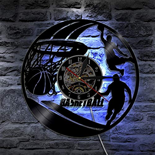 wtnhz LED-Vinyl Wall Clock Basketball Decoration Boy Room LED Lighting Clock Mute 3D Decoration Classic CD Record Wall Watch Home Decoration