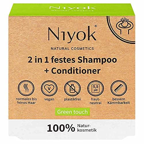 Niyok® 2 in 1 festes Shampoo und Conditioner | hautneutral pH 5,5 vegan plastikfrei | normales bis feines Haar | wie Haarseife Bio Naturkosmetik ohne Plastik | Green touch (80g)