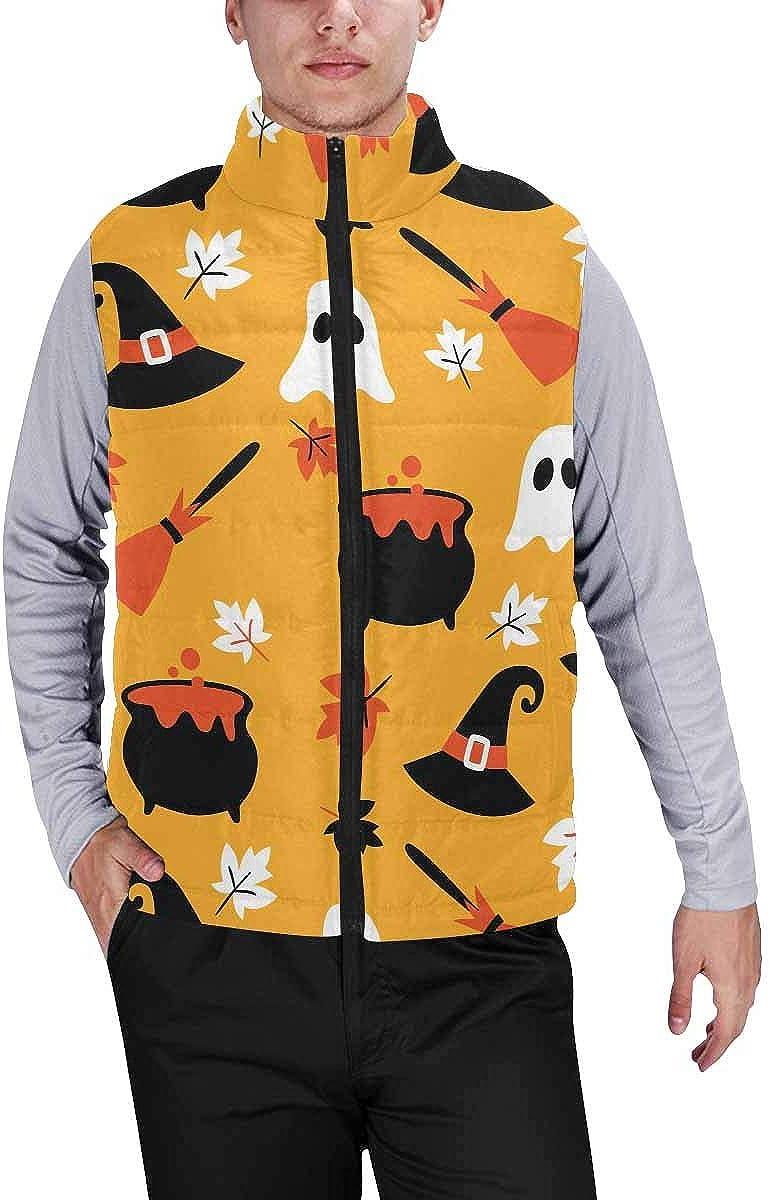 InterestPrint Men's Winter Full-Zip Outwear Padded Vest Coats Halloween Pumpkin, Broom, Hat XL