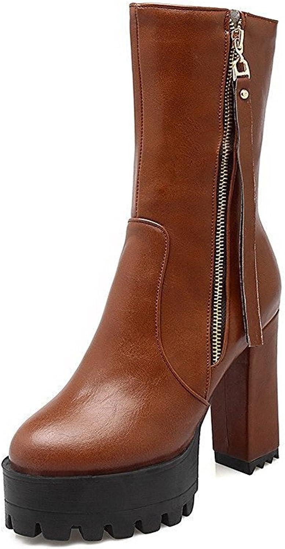 Laolaooo shoes Women's High Heels Mid Top Solid Zipper Boots