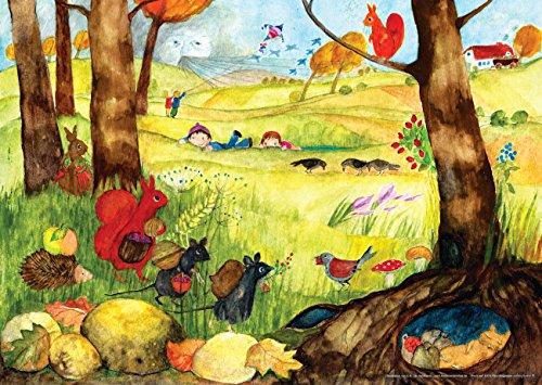 Herbstposter fürs Kinderzimmer von Eva Maria Ott-Heidmann - Herbsttreiben vom schnurverlag