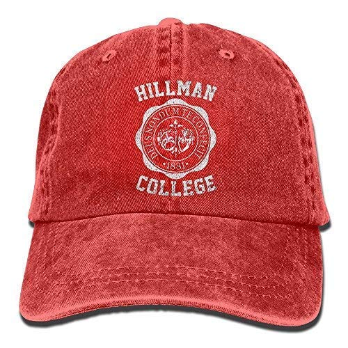 DAIAII Hombre Mujer Gorras de béisbol, Unisex Hillman College Run Cap Hillman College Adventure Hats Hunting Hat Black Red