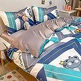 funda nordica cama 90,Paquete de seda de seda de lavado de agua de verano Paquete de seda de hielo de cuatro piezas pequeñas de cuatro piezas.-GRAMO_1,5 m de cama (envasado para 200 * 230 edredones)