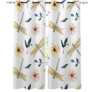 Seven Sunshine Blackout Window Curtains, Watercolor Dragonfly Flowers Leaves Room Darkening Drapery Thermal Insulated with Grommet Treaments for Living Room Bedroom Abstract Art 52x84inx2 Panels