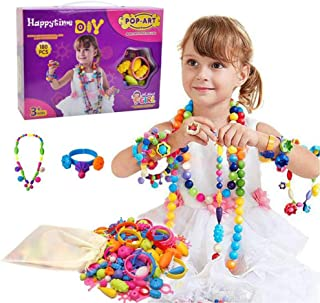 Happytime Snap Pop Beads Girls Toy 180 Pieces DIY Jewelry Kit Fashion Fun for Necklace Ring Bracelet Art Crafts Toys for 3, 4, 5, 6, 7 ,8 Year Old Kids Girls