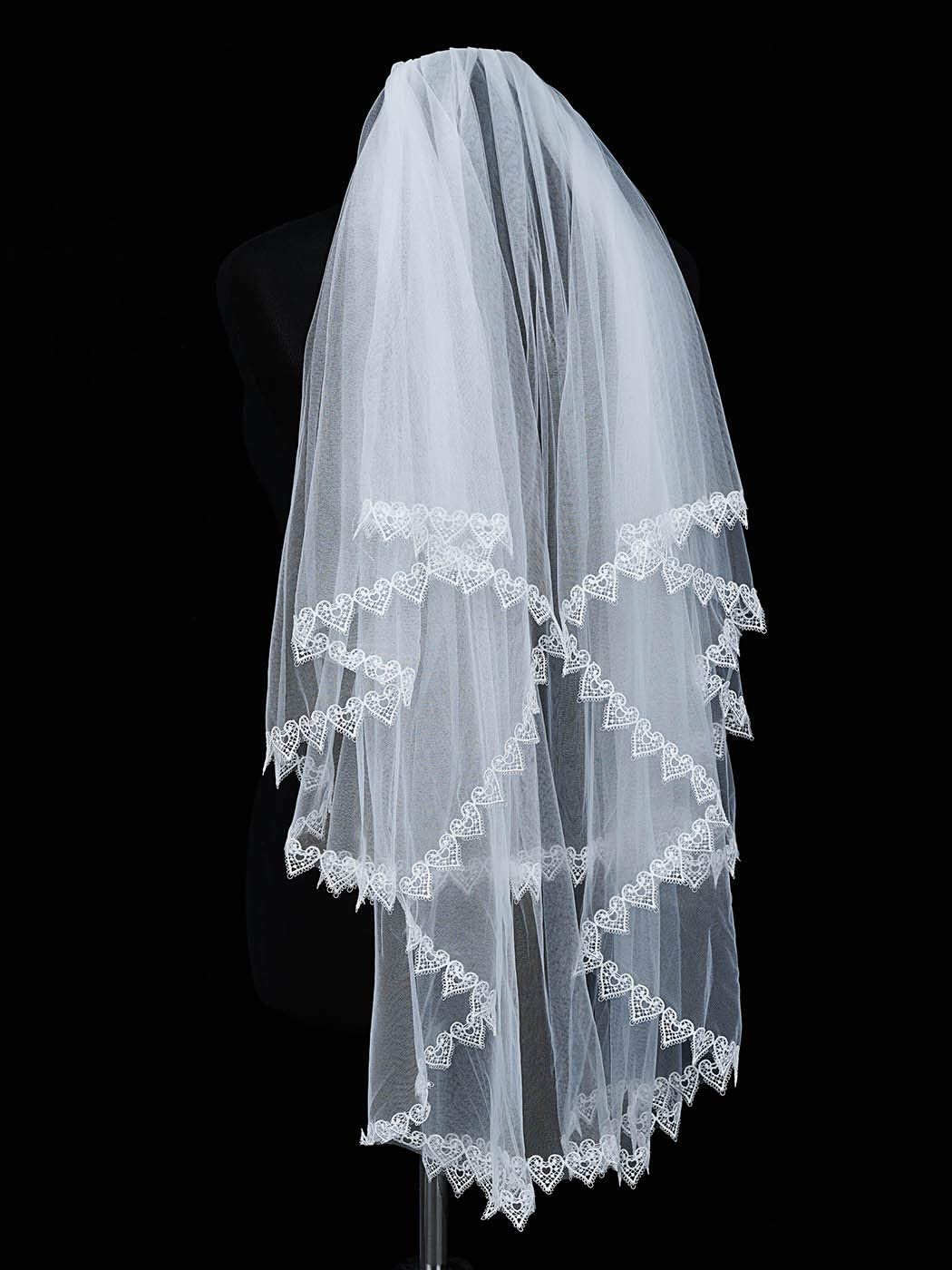 Unicra 2 Tiers Bride Wedding Veil White Short Elbow Length Bridal Tulle with Lace Edge and Comb 25.6/33.5Inch