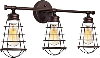 KingSo 3 Light Bathroom Vanity Light Fixture, Industrial Wire Cage Wall Sconces Rustic Farmhouse Style Wall Light for Bathroom Living Room Kitchen (Bronze)