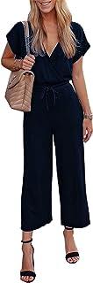 PRETTYGARDEN Women's Sexy Deep V Neck Short Sleeve Wrap Drawstring Waist Jumpsuit Romper with Pockets