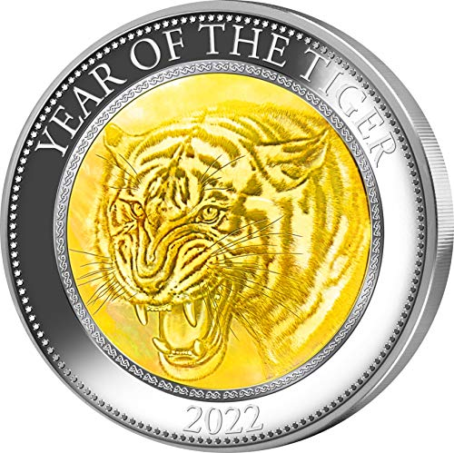 Power Coin Tiger Mother of Pearl Lunar Year Series 5 Oz Silber Münze 25$ Cook Islands 2022