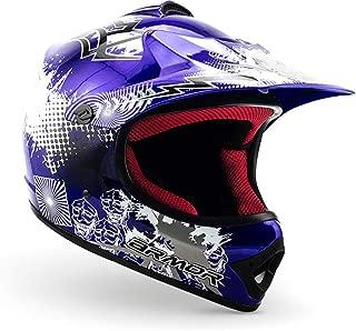 """Armor · AKC-49 """"Blue"""" (blue) · Casco Moto-Cross · Enduro NINOS Scooter Quad Racing motocicleta Off-Road · DOT certificado · Click-n-Secure™ Clip · Bolsa de transporte · M (55-56cm)"""