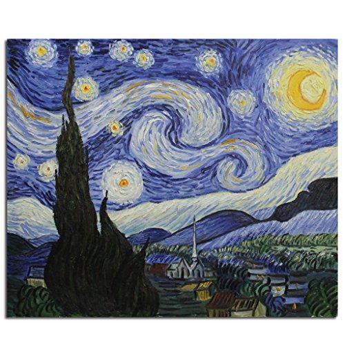 Fokenzary pintado a mano pintura al óleo sobre lienzo Vincent van Gogh clásica noche estrellada reproducción decoración de la pared enmarcado listo para colgar50 x 60 cm