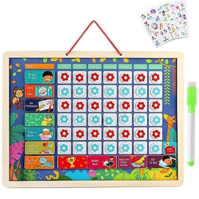 Lewo Calendario Infantil Magnético Calendario Diario Juguetes de Desarrollo Fomenta el Buen Comportamiento Aprendizaje Educativo Juguete de Madera Regalos de Graduación para Niños Pequeños Niñas por Lewo