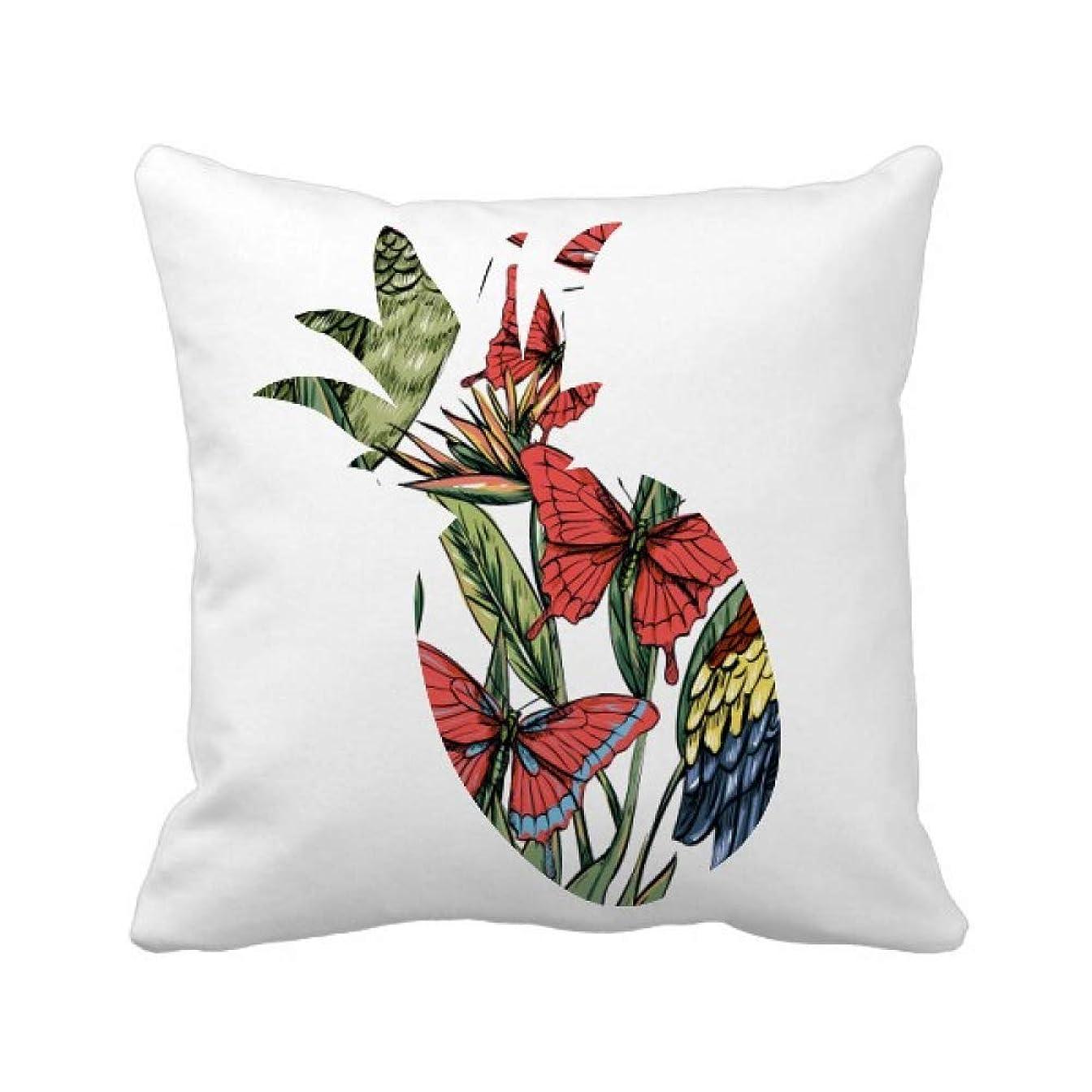 抵抗力がある訴える祖先花の植物の葉は、白い鳥蝶 パイナップル枕カバー正方形を投げる 50cm x 50cm