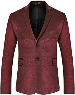 Sportides Men's Casual Slim Fit Velvet Printed Two Button Blazer Men Jacket Suits JZA130 WineRed M