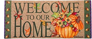 Seasonal Easy to Clean Evergreen Autumnal Welcome Pumpkin Sassafras Mats with Floral Detail