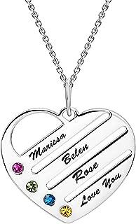 Collar Plata Colgante con Nombre Personalizados Grabado en Forma de Corazón Joya Mujer Regalo para Familia Novia Cumpleaño Cadena Más Extención