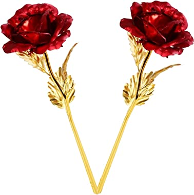 Encelade Red Valentine Gift Gold Roses with Gift Box (Best Valentine Gift for Couples)