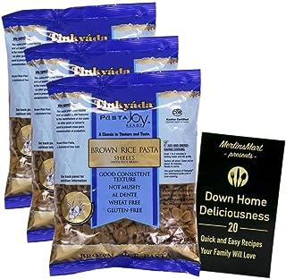Tinkyada Gluten-Free Brown Rice Pasta | Shells (16 Ounces) | 3 Count Plus Recipe Booklet Bundle