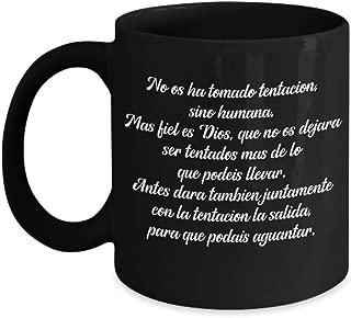 1 Corintios 10:13 regalos cristianas catolica de tasa negra para cafe con versiculos de la biblia en espanol