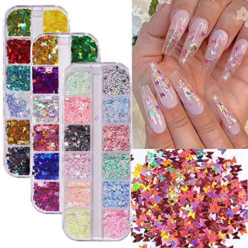 Nail Art Supplies Holographic Butterfly Nail Art Glitter 36 Colors/Set Sparkly Nail Sequins Glitters for Nail Art Decoration Makeup DIY,Nail Glitter Flakes Contains Manicure Aid Gadgets