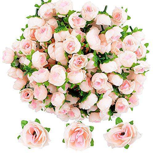 JNCH 100pcs Cabezas de Rosa Flores Rosa Artificiales en Seda para Manualidades Decoración de Boda Fiesta Hogar
