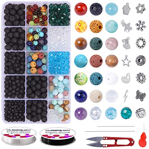 Lava Beads Rock Jewelry Making Supplies Kit, 645PCS Bulk Natural Stone Colorful Amazonite Gemstone Chakra Bead Spacer Glass Faceted Bead with 2 String Bracelet Charm for Diffuser Essential Oils
