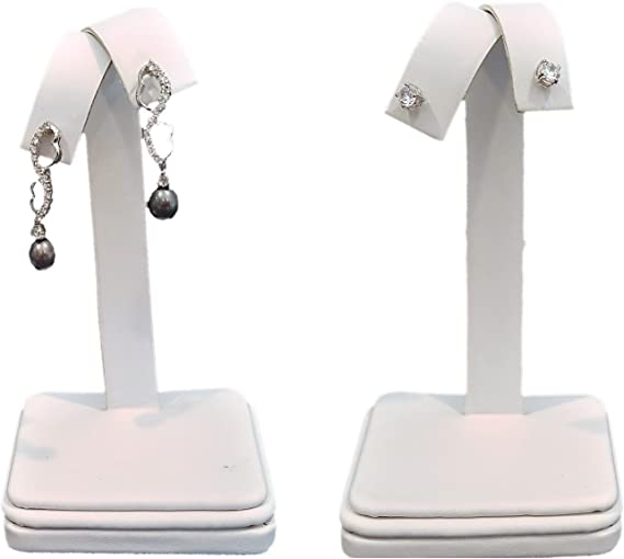 Details about  /White Faux Leather Earring Jewelry Display Holder Elegant Fancy Circle Stand