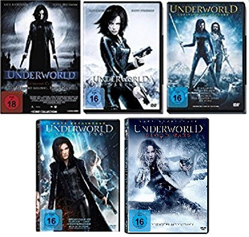 Underworld 1-5 (Underworld - Evolution - Aufstand der Lykaner - Awakening - Blood Wars) FSK-18 DVD Set - Deutsche Originalware [6 DVDs]