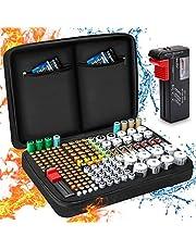 Batterij-opbergdoos, vuurvaste draagtas, batterijbox met tester, houdt 199+ batterijen van verschillende groottes voor AAA, AA, 9V, C en D grootte (batterij niet inbegrepen)