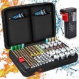 Keenstone Organizador de Batería, Caja Organizadora de Pilas Dura con Capacidad para 199 Pilas AA AAA C D 9V - Caja de Pilas con Comprobador Digital de Batería BT-168 (Batería No Incluida)