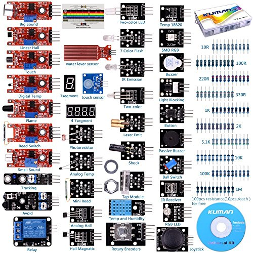 kuman Compatible For Arduino Raspberry pi Sensor kit, 37 in 1 Robot Projects Starter Kits with Tutorials Compatible for Arduino RPi 3 2 Model B B+ K5