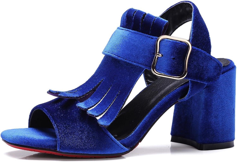 AIWEIYi Womens Summer Style Sandal shoes Tassel Buckle Strap Platform High Heel Sandals Black