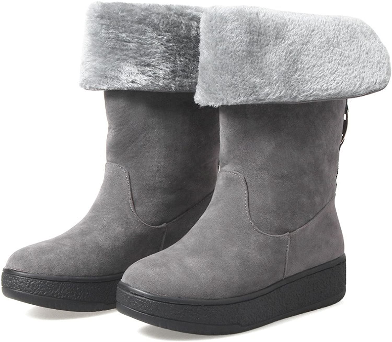 MFairy Woman's Low Heel Mid-Calf Snow Boots Warm Winter Ankle Boots