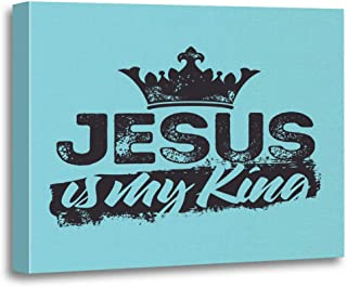 Tinmun Painting Canvas Artwork Wooden Frame Christ Bible Lettering Christian Jesus is My King Gospel 16x20 inches Decorative Home Wall Art