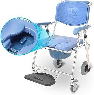 便器椅子、ホイルトイレ椅子2車輪ブレーキ折り畳み型携帯用トイレ4-IN-1車椅子シャワー交通チェア高齢障害者 AWSAD (Color : Blue)