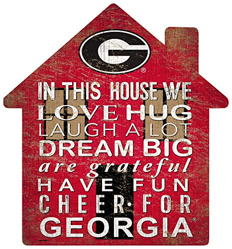 Fan Creations NCAA Georgia Bulldogs Unisex University of Georgia House Sign, Team Color, 12 inch