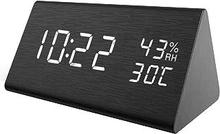ORIA Reloj Despertador de Madera, LED Digital Reloj de Alarma con Control de Sonido, Triángulo Escritorio Despertador, Brillo de 3 Niveles, 3 Alarmas Programables, Indicador de Temperatura y Humedad